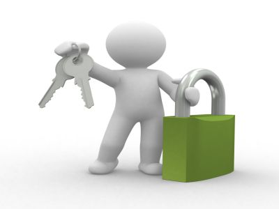 3d human with key and locker in hands